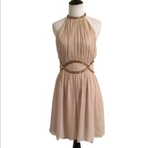 Maggy London Silk Nude & Sequins Evening Dress 8